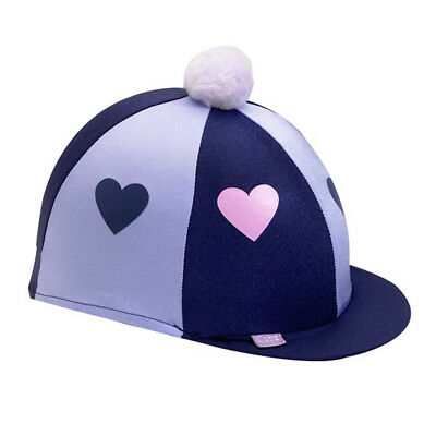 Capz Lycra Hearts Skull Cap Cover - Navy/ Lilac - Riding Hat Silk/ Hat Cover