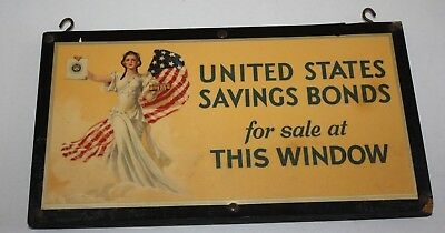 Vintage United States Savings Bonds Wooden Double Sided Hanging Sign
