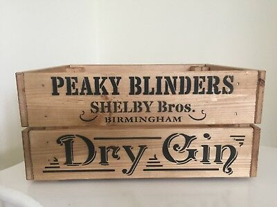 Wooden Peaky Blinders Shelby Bros Birmingham Dry Gin Design  Crate Box Storage