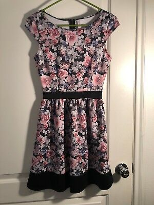 8e17b6010 Xhilaration Juniors Dress Cap Sleeve A-Line Size XS Black Floral Print