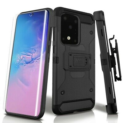 Samsung GALAXY S8 Active Armor Hybrid Rugged TPU Black Case Cover Holster Screen