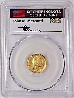 2016 W Gold Mercury Dime 100th Anniversary PCGS SP70 First Day of Issue Mercanti