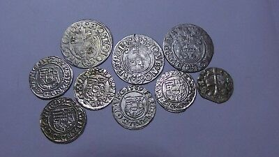 European Medieval Silver Coins (1368-1625) LOT - 9 pieces VERY GOOD / EXCELLENT