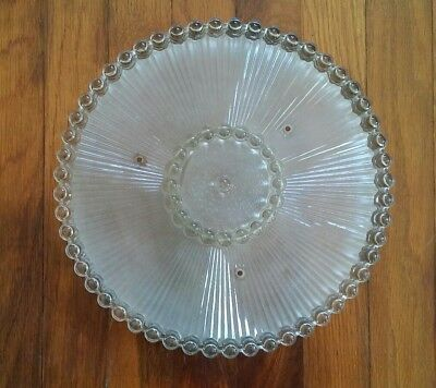 Vintage Art Deco Glass Ceiling Shade Wedding Cake Style Clear & Frosted