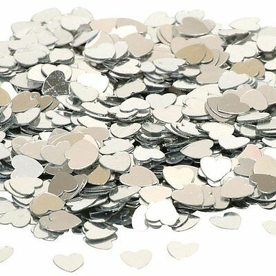 Small Silver Hearts Wedding Table Scatter Decorations (14g Pack)