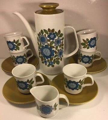 Vintage retro 1960's J & G Meakin 'Topic' design tea / coffee set 6 cups jug pot