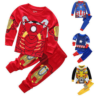 Kids Boy Marvel Captain America Pyjamas Sleepwear Nightwear Outfits Clothes Set