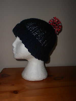 Navy blue, red, white and blue bobble hat knitted Hat ENGLAND, FRANCE RUGBY