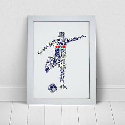 Personalised Word Art Football Fan Player Footballer Birthday Gift Print Frame