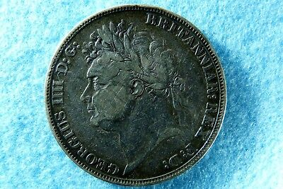 1821 King George IIII Silver Crown 5/- Coin Secundo St.George and Dragon Toned