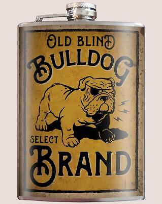 """Old Blind Bulldog Brand"" 8 oz. Stainless Steel Flask with Funnel"