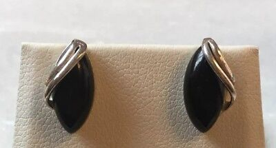 Vintage Jewellery - Art Nouveau Style Silver & Black Stone Stud Earrings - Jet?