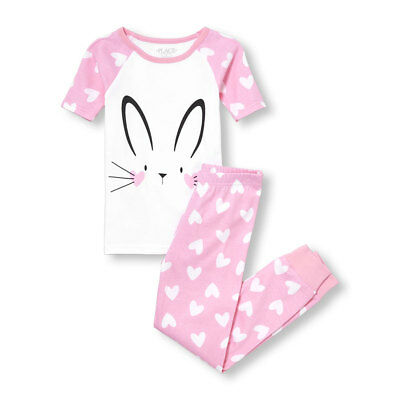 NWT The Childrens Place Easter Bunny Rabbit Girls Pink Short Sleeve Pajamas Set