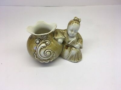 Schafer And Vater Match/Toothpick Holder Oriental Girl With Fan