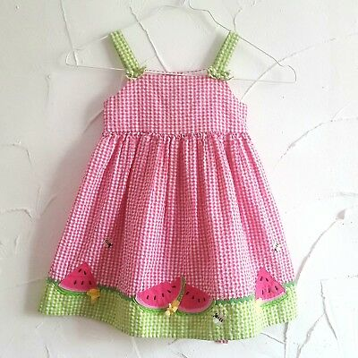 Petes Partner VINTAGE Pink Gingham Dress Baby Girls 2 Years Watermellon Bee