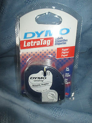 New in Package-2 pack Dymo Letratag 12mm-10697/91330 white paper