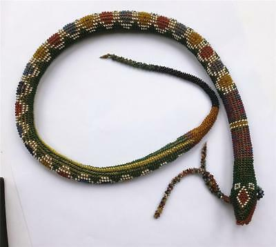 TURKISH OTTOMAN P O W BEADED SNAKE - TRENCH ART - 24 inches long