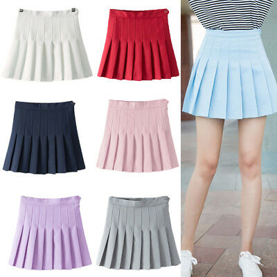 Girls Womens Pleated School Skirt With Side Zip High Waist Tennis Mini Dress