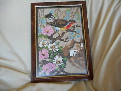 Professionally Framed Tapestry Of A Bird In A Rural Scene