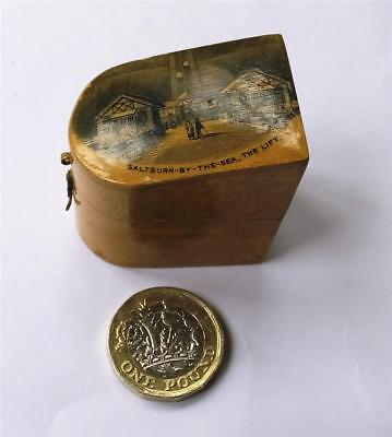 ANTIQUE MAUCHLINE WARE THIMBLE BOX -VIEW of FURNICULAR RAILWAY-SALTBURN-ON-SEA