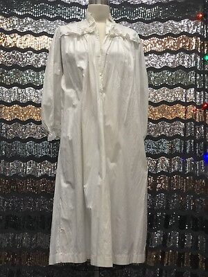 Vintage Antique Victorian 1800's White Cotton Nightgown Night Dress Full Length