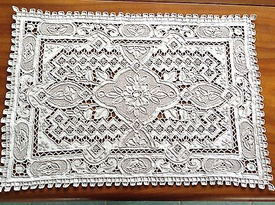 Antique / Vintage Hand Embroidered Chinese Great Wall Pattern Table Centre Cloth