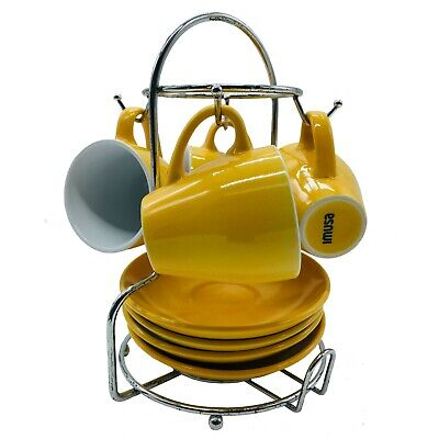 IMUSA USA A120-22181T Espresso Coffee Cup Set with Rack  8-Piece Yellow