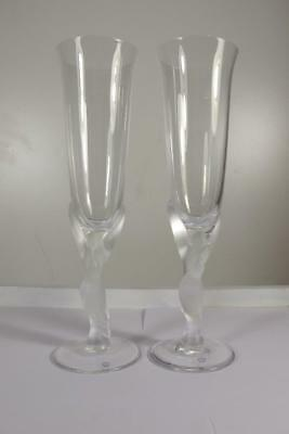Pair Igor Carl Faberge Kissing Dove Birds Crystal Champagne Flutes Glass Signed
