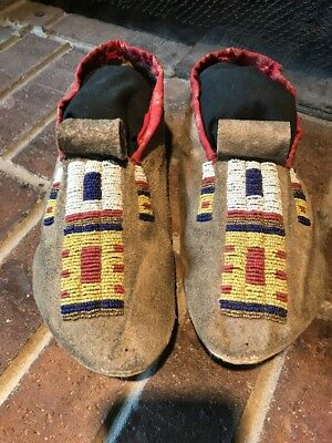 Old native american indian beaded moccasins