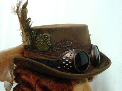 Dieselpunk Steampunk Riding hat Brown for women one size with goggles