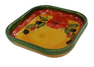 Deep Square Tapas Dish Bowl 11 cm Traditional Spanish Handmade Ceramic Pottery