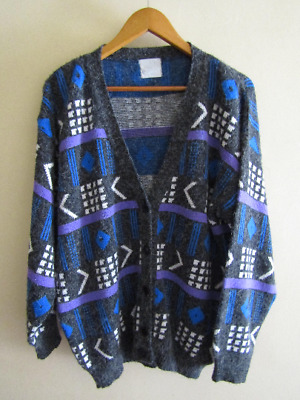 Vintage Retro grey geometric cardigan Sweater Top hipster ugly bold Medium