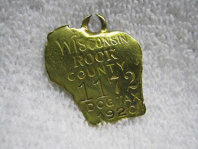 Antique Wisconsin Rock County 1920 Pet Dog License Tax Tag