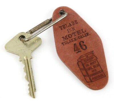 Tulare, California Motel Vintage Key Fob / Ring & Yale Towne Key Mail Drop Box