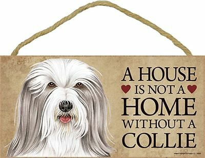 """A House is not a Home without a BEARDIE Sign 5""""x10"""" COLLIE NEW  Wood Plaque S35"""