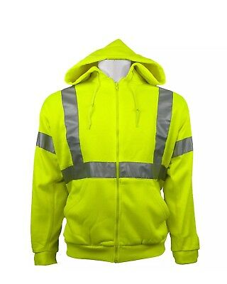 High Visibility Hi Vis Pullover Hoodie Sweatshirt Class 3 Safety Road Work Large