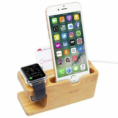 Wood Bamboo Charging Dock Station Stand Holder For Apple Watch iPhone X 8 8 Plus