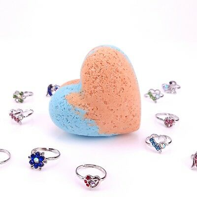 7 3.5 oz Kids Heart Bath Bombs With Ring Inside Coconut Mango Scent