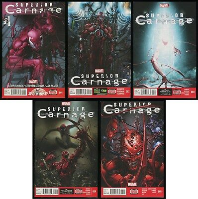 Superior Carnage Comic Set 1-2-3-4-5 Lot Spider-Man Symbiote Clayton Crain art