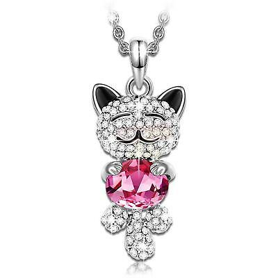 Women Lady Wife Mom Daughter Birthday Gifts - Lucky Cat Pendant Necklace Crystal