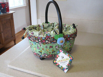 Mary Engelbreit Fabric Covered Sewing Basket Black and Green Dritz 2001 HTF