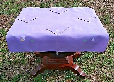 Vintage Applique Mid-Century Luncheon Tablecloth W/ Napkins 34''x36'' Amazing!!!
