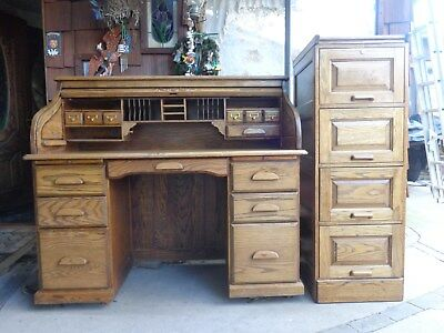 USED OAKBARN SOLID OAK ROLL TOP DESK and 4 DRAWER FILE CABINENT