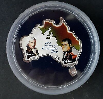 2002 Uganda Matthew Flinders Encounter Bay 5000S 1 oz Silver (.999) coin
