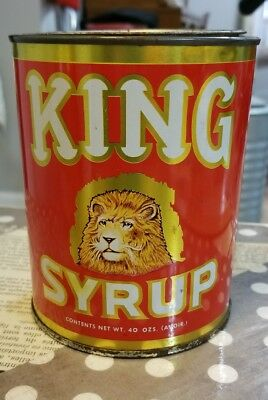 Vintage Tin Can King Syrup Mangels-Herold Co. Baltimore MD 40 oz
