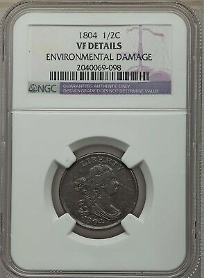 1804 1/2C Draped Bust Half Cent  Corselet 4 / Stems NGC VF Details #2040069-098