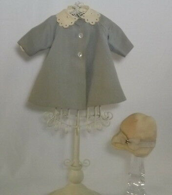 "Vintage Madame Alexander Blue Coat Hat Lined Tagged 1952 fits 14""-15"" Doll # 274"