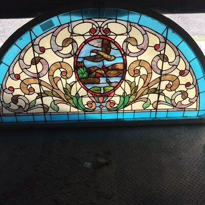 """antique stained glass scenic landscape window 43""""x86"""""""
