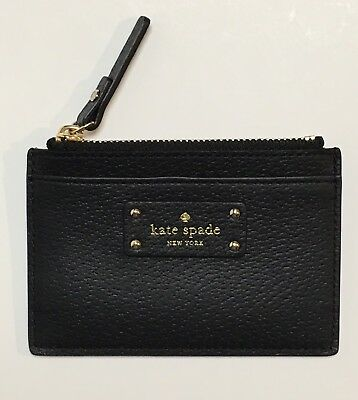 New Kate Spade Adi Grove Street Leather Card & Coin Case Wallet Holder Black