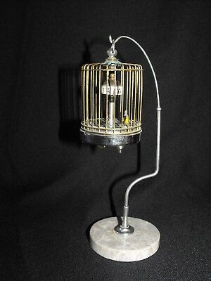 vintage Kindai Watch Co birdcage clock on stand works!